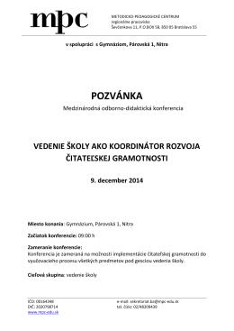 POZVÁNKA - Gymnázium, Párovská 1, Nitra