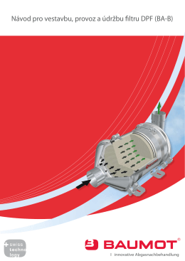 Návod pro vestavbu, provoz a údržbu filtru DPF (BA-B)