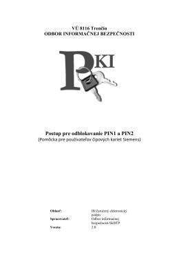 Postup na odblokovanie PIN kódov [pdf]