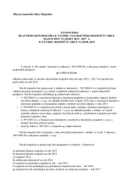 .Hlavný kontrolór Obce Majcichov STANOVISKO HLAVNÉHO