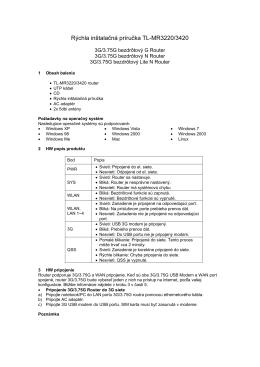 Rýchla inštalačná príručka TL-MR3220/3420