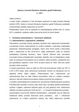 Správa o činnosti za rok 2011 - Garáže - Podbreziny