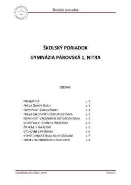 Nový školský poriadok - Gymnázium, Párovská 1, Nitra