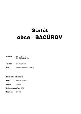 Štatút obce BACÚROV