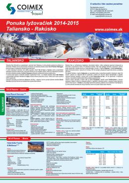 Katalóg lyžovačiek 2014/2015 COIMEX