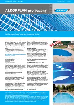 ALKORPLAN pre bazény