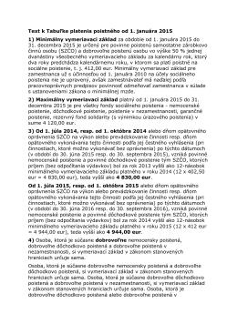 Text k Tabuľke platenia poistného od 1. januára 2015 1