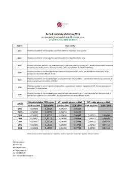 Cenník dodávky elektriny 2015