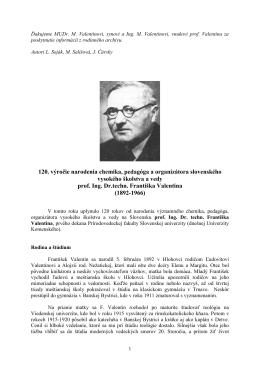 Prof. František Valentin
