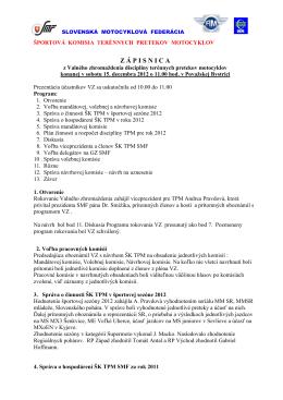 Zápisnica z VZ TPM 2012 - Slovenská motocyklová federácia