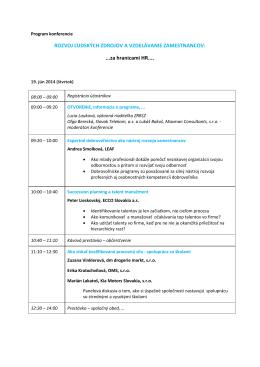 Program - Združenie pre riadenie a rozvoj ľudských zdrojov