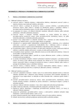 Informácie o právach a povinnostiach odberateľa plynu