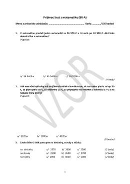 Prijímací test z matematiky (8R-A)