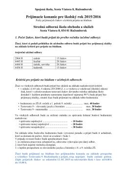 Prijímacie konanie pre školský rok 2015/2016