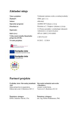 Základné údaje Partneri projektu
