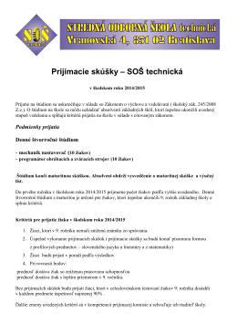 Prijímacie skúšky na školský rok 2014/2015
