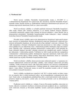 Odôvodnenie k vyhláške Národného bezpečnostného úradu č. 232