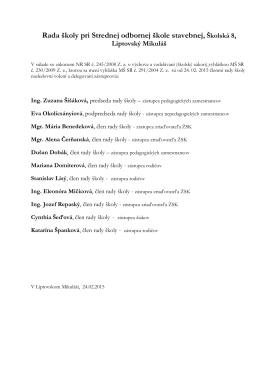 Zloženie rady školy 2015