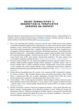 dejiny žurnalistiky 2: konkretizácia tematických