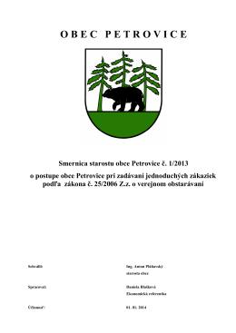 Smernica starostu obce Petrovice č 1-2013 o