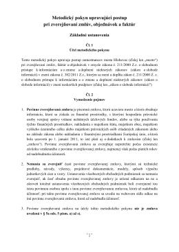 Metodický pokyn upravujúci postup pri zverejňovaní zmlúv