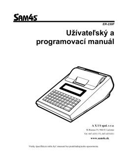 Manuál Sam4s ER-230F