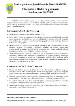 Informácie o štúdiu