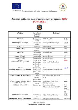 Hot Potatoes - formátovanie písma (Lenka Lenková)