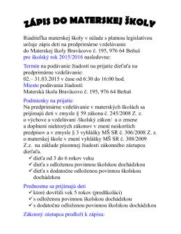 Zápis detí 2015-2016