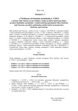 k Všeobecne záväznému nariadeniu č. 1/2013