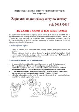Zápis detí do materskej školy na školský rok 2015 /2016