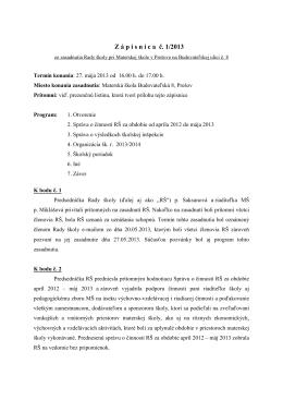 zápisnica z 27-05-2013, inšpekcia a organizácia