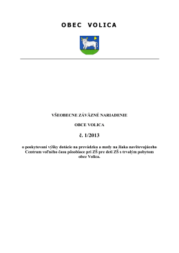 VZN 1/2013 o poskytovaní dotácií pre CVČ