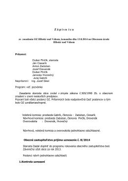 Zápisnica OZ 13.8.2014 - Obec Hlboké nad Váhom