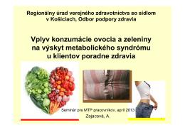 Vplyv konzumácie ovocia a zeleniny na výskyt metabolického