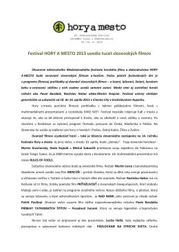 Festival HORY A MESTO 2013 uvedie tucet slovenských filmov
