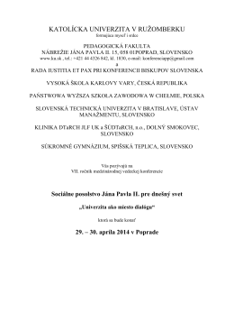 Pozvánka Ján Pavol II. 2014 - Konferencie