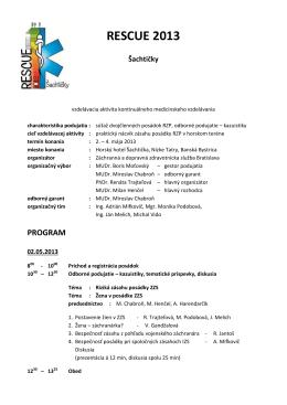 Program súťaže - Záchranná zdravotná služba Bratislava