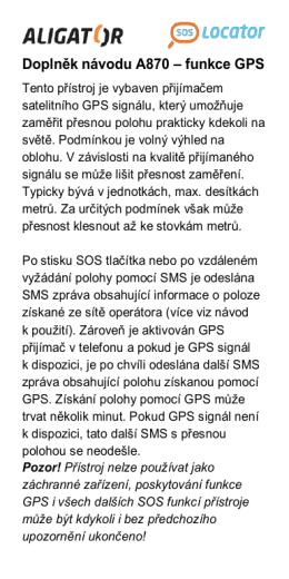 Doplněk návodu A870 – funkce GPS