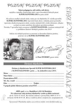 objednávka spevníčka slávika slovenska 2013