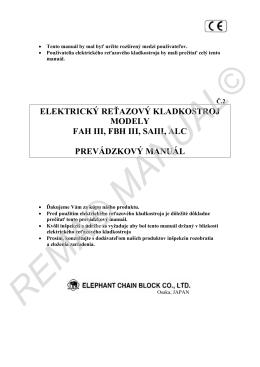 elektrický reťazový kladkostroj modely fah iii, fbh iii, saiii, alc