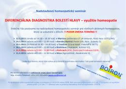 DIFERENCIÁLNA DIAGNOSTIKA BOLESTÍ HLAVY