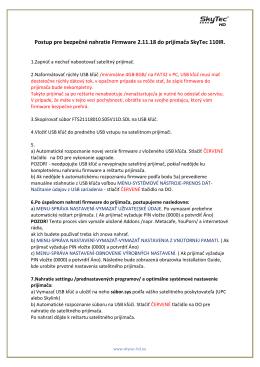 Postup pre bezpečné nahratie Firmware 2.11.18 do prijímača