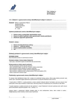 VEC: Žiadosť o vypracovanie zmeny identifikačných