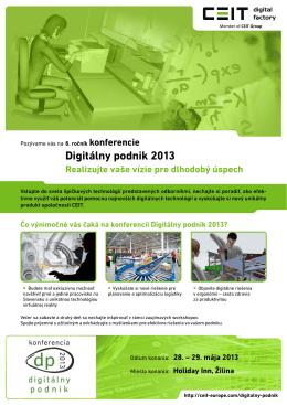 DIGITALNY PODNIK 2013 - prva informacia