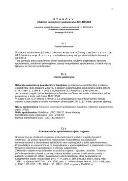 Urbárske pozemkové spoločenstvo SOLOŠNICA - stanovy