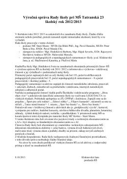 Výročná správa Rady školy pri MŠ Tatranská 23 2012/2013