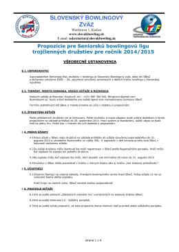 propozície SBL 2014/2015 - Slovenský Bowlingový Zväz