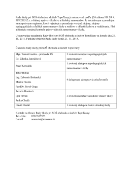Rada školy pri SOŠ obchodu a služieb Topoľčany je ustanovená