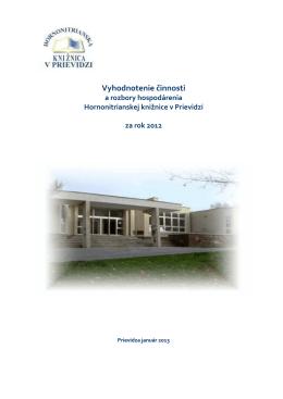 2012 - Hornonitrianska knižnica v Prievidzi